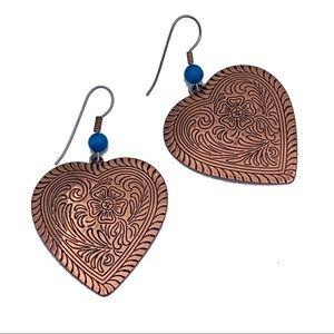 Copper Western Heart Earrings Turquoise Vintage
